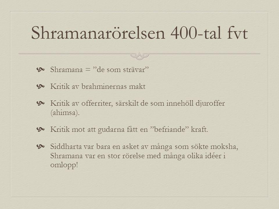 """Shramanarörelsen 400-tal fvt  Shramana = """"de som strävar""""  Kritik av brahminernas makt  Kritik av offerriter, särskilt de som innehöll djuroffer (a"""