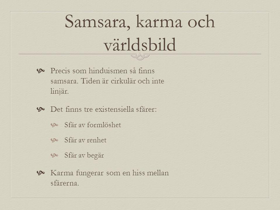 Samsara, karma och världsbild  Precis som hinduismen så finns samsara. Tiden är cirkulär och inte linjär.  Det finns tre existensiella sfärer:  Sfä