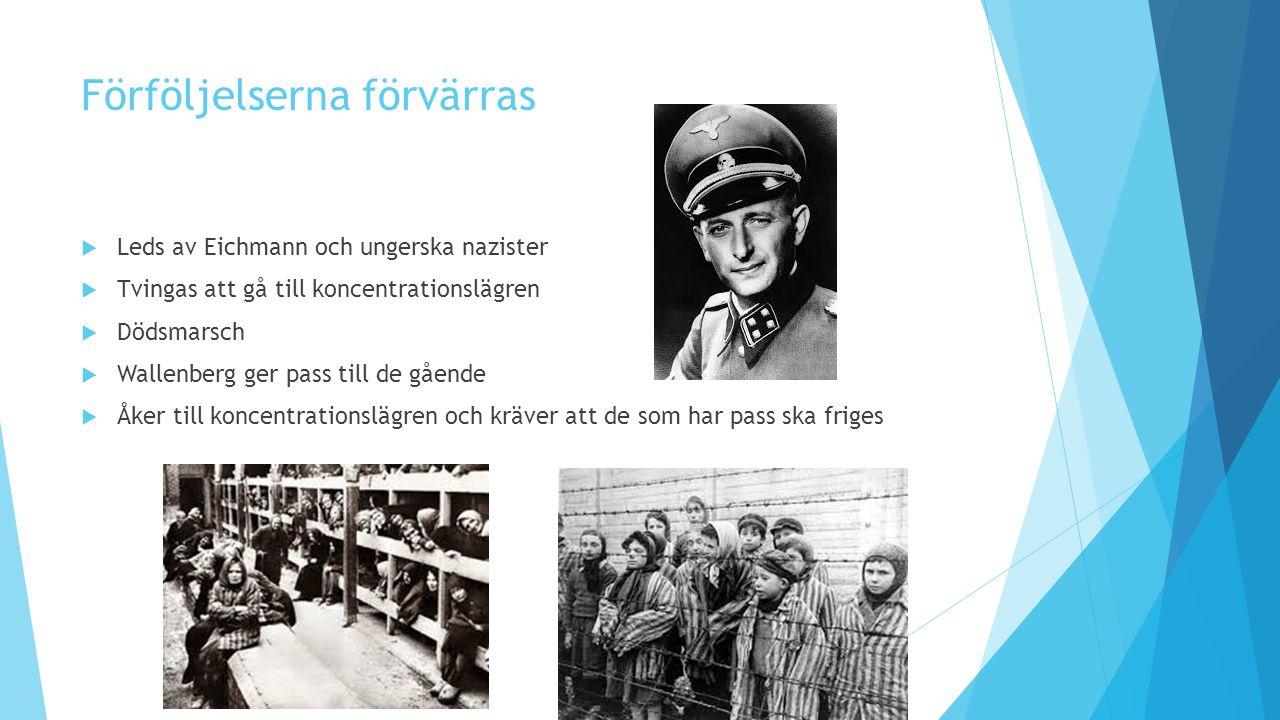 Förföljelserna förvärras  Leds av Eichmann och ungerska nazister  Tvingas att gå till koncentrationslägren  Dödsmarsch  Wallenberg ger pass till d