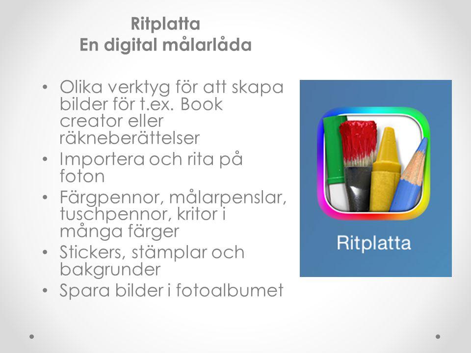 Ritplatta En digital målarlåda Olika verktyg för att skapa bilder för t.ex. Book creator eller räkneberättelser Importera och rita på foton Färgpennor