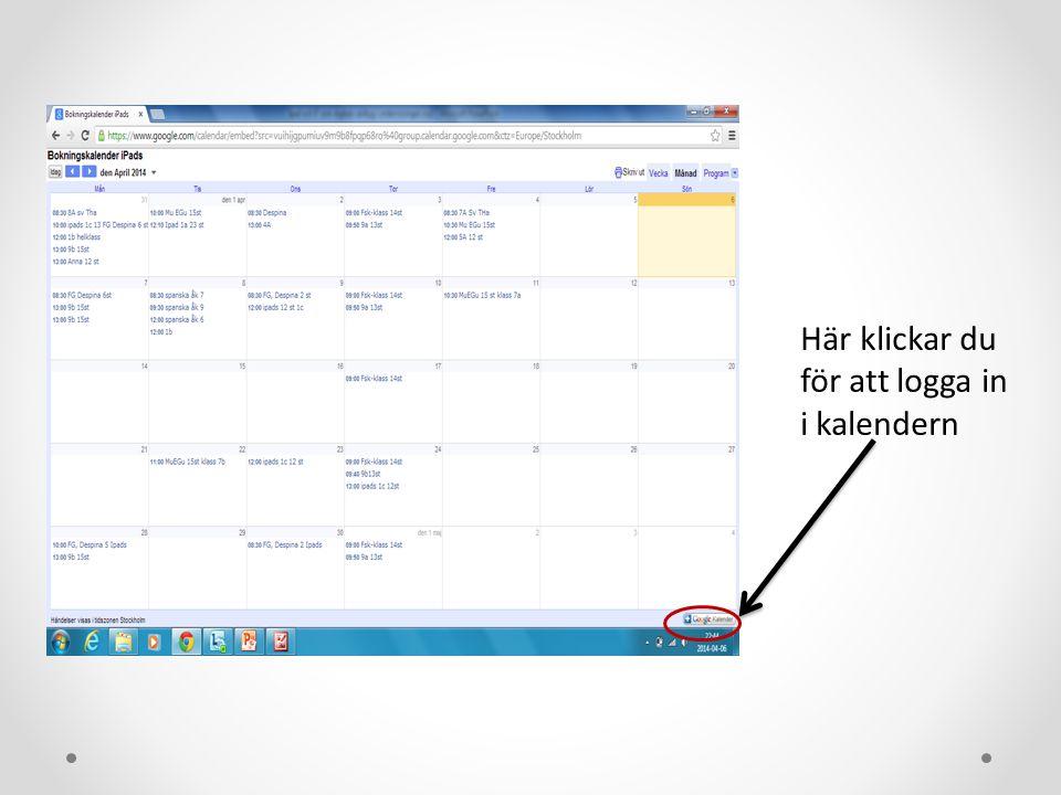 Här klickar du för att logga in i kalendern