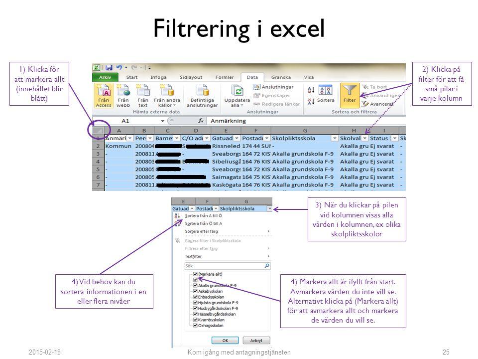 Filtrering i excel 1) Klicka för att markera allt (innehållet blir blått) 2) Klicka på filter för att få små pilar i varje kolumn 3) När du klickar på