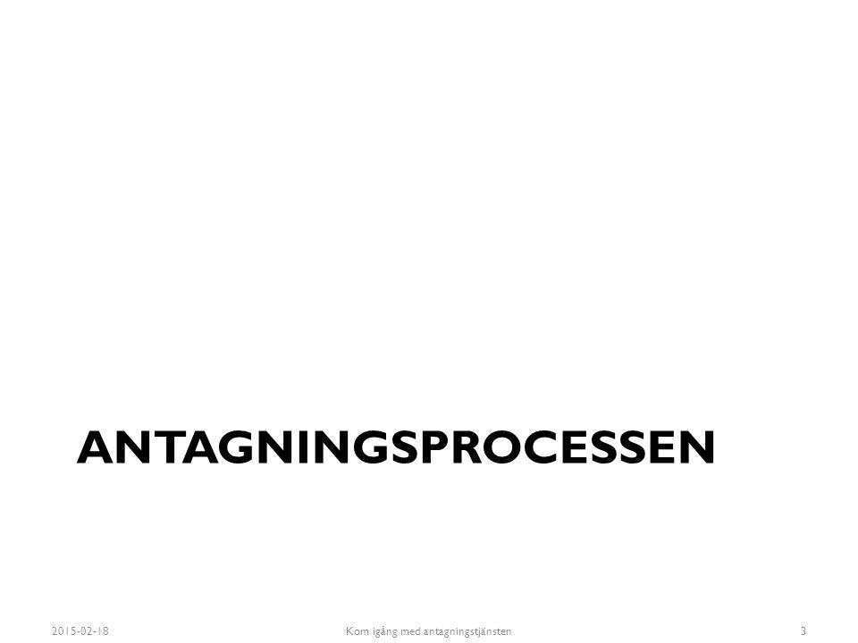 ANTAGNINGSPROCESSEN 2015-02-18Kom igång med antagningstjänsten3