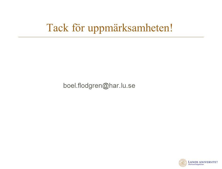Tack för uppmärksamheten! boel.flodgren@har.lu.se
