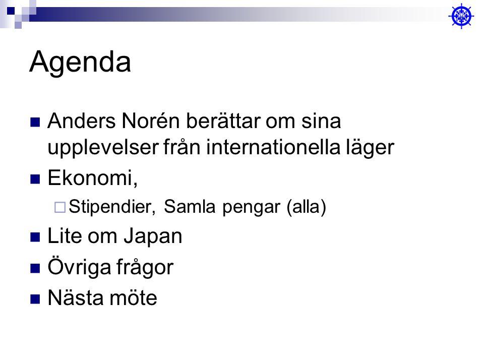 Agenda Anders Norén berättar om sina upplevelser från internationella läger Ekonomi,  Stipendier, Samla pengar (alla) Lite om Japan Övriga frågor Nästa möte