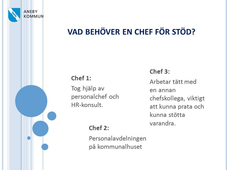 Chef 2: Personalavdelningen på kommunalhuset Chef 1: Tog hjälp av personalchef och HR-konsult. Chef 3: Arbetar tätt med en annan chefskollega, viktigt