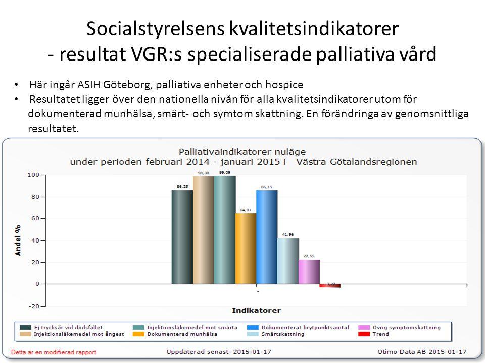 Socialstyrelsens kvalitetsindikatorer - resultat VGR:s specialiserade palliativa vård Här ingår ASIH Göteborg, palliativa enheter och hospice Resultat