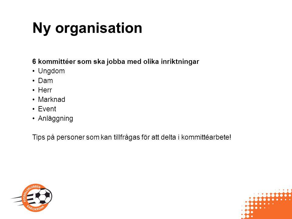 Ny organisation 6 kommittéer som ska jobba med olika inriktningar Ungdom Dam Herr Marknad Event Anläggning Tips på personer som kan tillfrågas för att