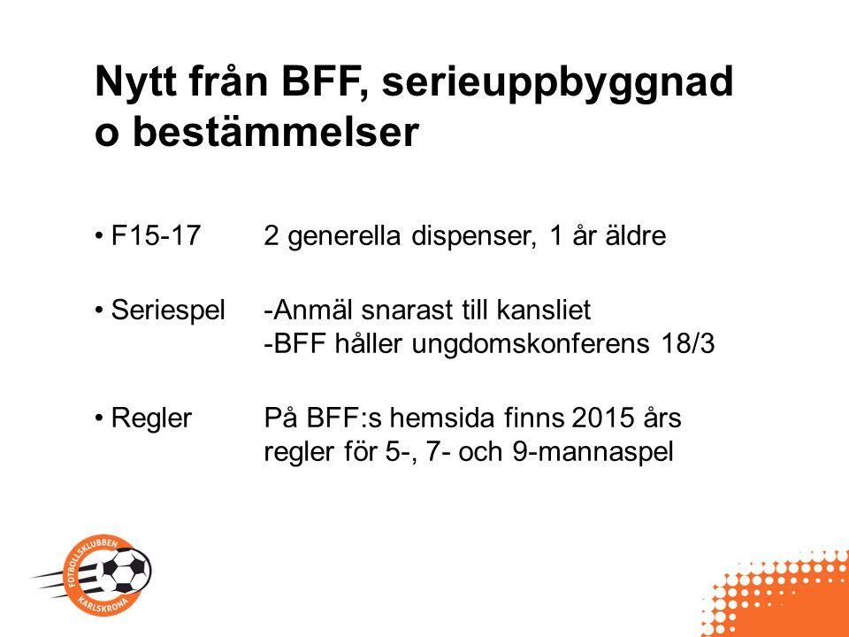 Nytt från BFF, serieuppbyggnad o bestämmelser F15-172 generella dispenser, 1 år äldre Seriespel-Anmäl snarast till kansliet -BFF håller ungdomskonfere