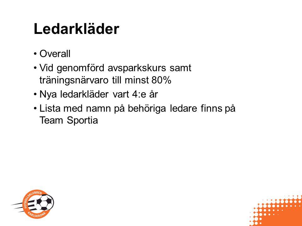 Ledarkläder Overall Vid genomförd avsparkskurs samt träningsnärvaro till minst 80% Nya ledarkläder vart 4:e år Lista med namn på behöriga ledare finns