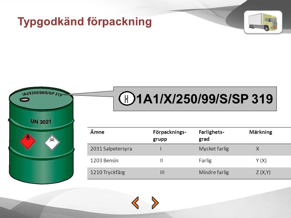 Typgodkänd förpackning 1A1/X/250/99/S/SP 319 ÄmneFörpacknings- grupp Farlighets- grad Märkning 2031 SalpetersyraIMycket farligX 1203 BensinIIFarligY (X) 1210 TryckfärgIIIMindre farligZ (X,Y)