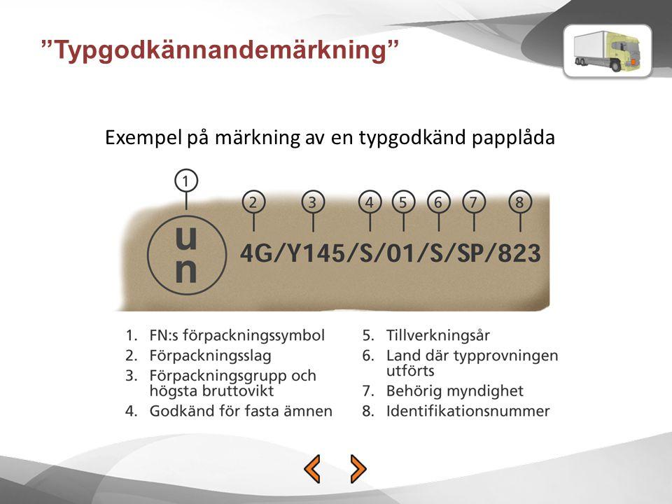 """Exempel på märkning av en typgodkänd papplåda """"Typgodkännandemärkning"""""""
