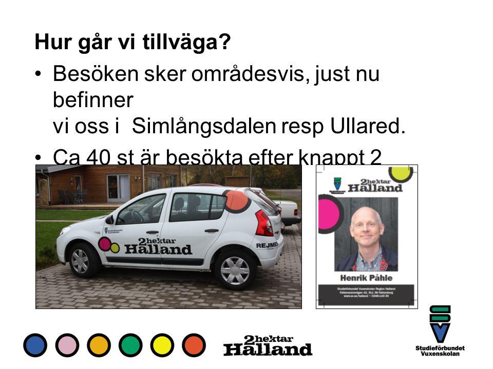 Hur går vi tillväga. Besöken sker områdesvis, just nu befinner vi oss i Simlångsdalen resp Ullared.