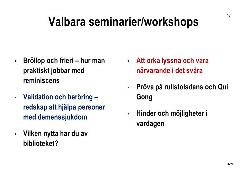 17 2007 Valbara seminarier/workshops Bröllop och frieri – hur man praktiskt jobbar med reminiscens Validation och beröring – redskap att hjälpa personer med demenssjukdom Vilken nytta har du av biblioteket.