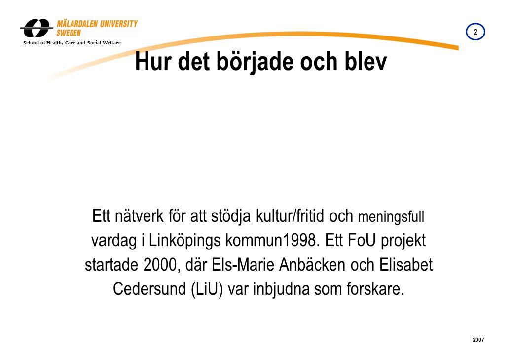 2 2007 School of Health, Care and Social Welfare Hur det började och blev Ett nätverk för att stödja kultur/fritid och meningsfull vardag i Linköpings kommun1998.