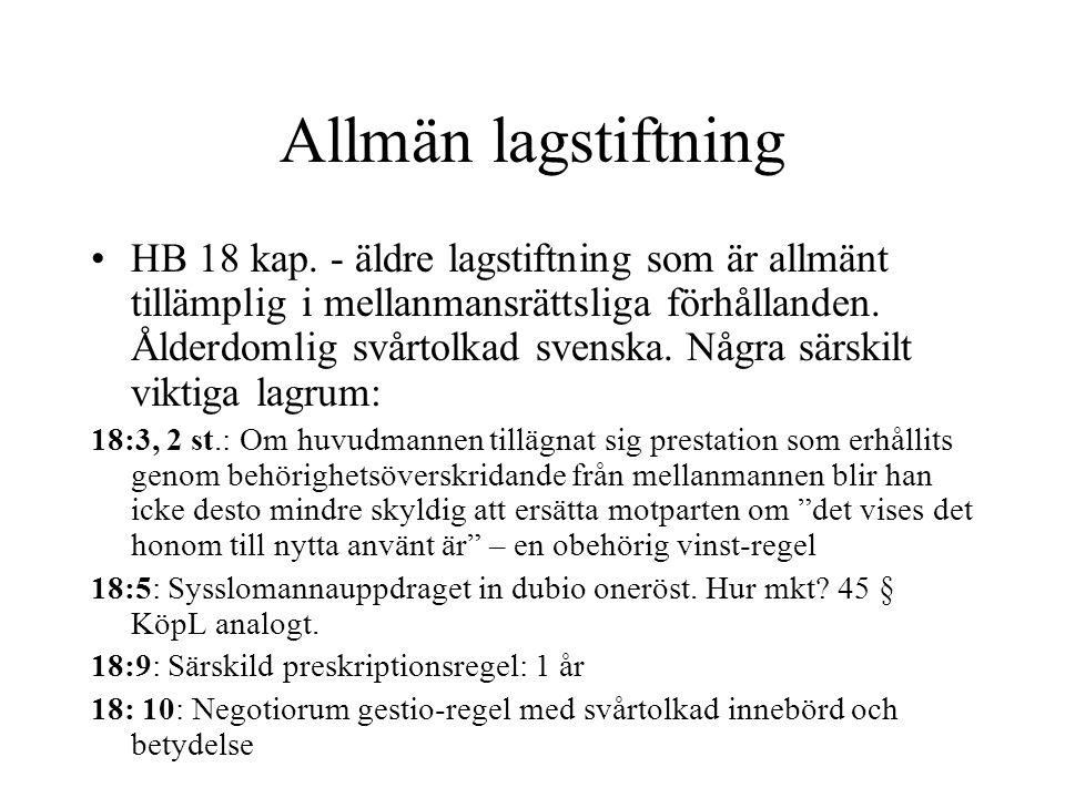 Allmän lagstiftning HB 18 kap.