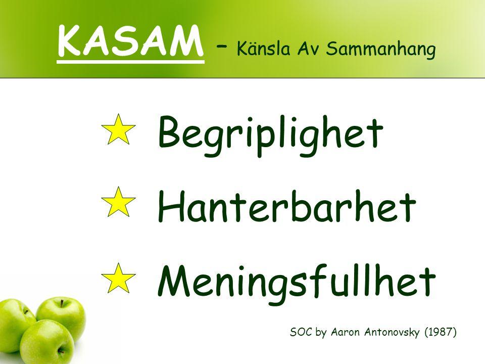 KASAM – Känsla Av Sammanhang SOC by Aaron Antonovsky (1987) Begriplighet Hanterbarhet Meningsfullhet