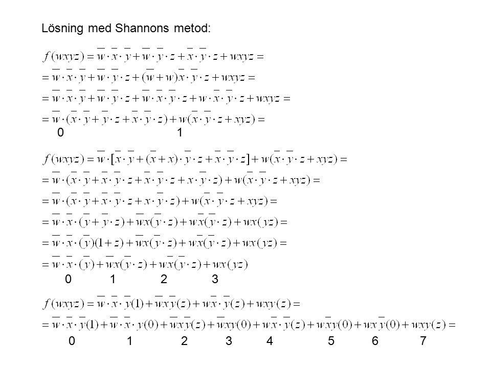 Lösning med Shannons metod: 0 1 0 1 2 3 0 1 2 3 4 5 6 7