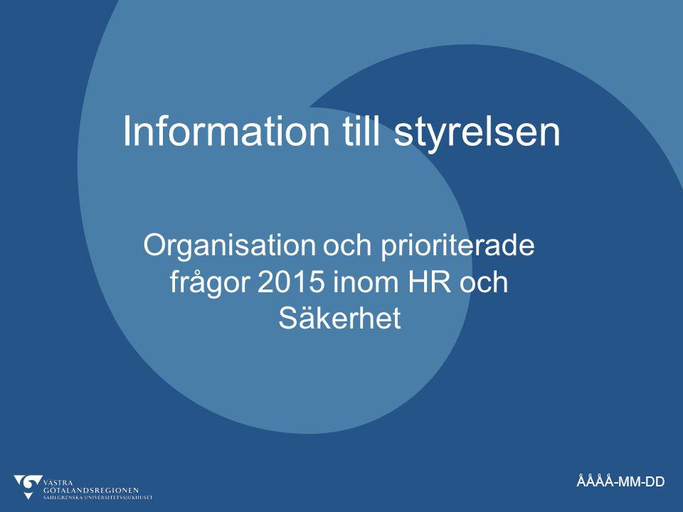 ÅÅÅÅ-MM-DD Information till styrelsen Organisation och prioriterade frågor 2015 inom HR och Säkerhet