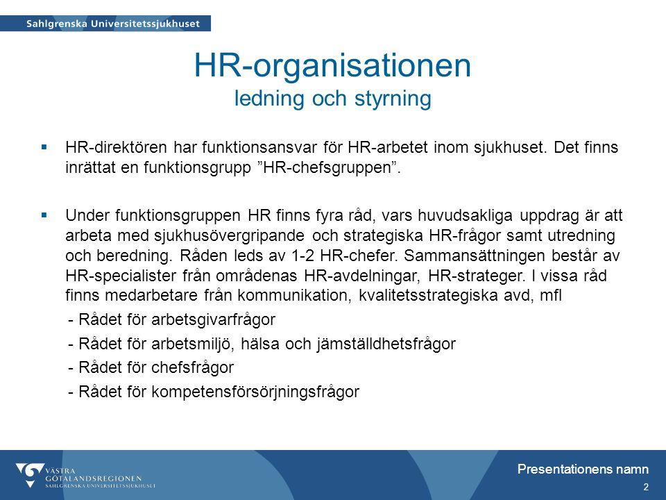 """HR-organisationen ledning och styrning  HR-direktören har funktionsansvar för HR-arbetet inom sjukhuset. Det finns inrättat en funktionsgrupp """"HR-che"""