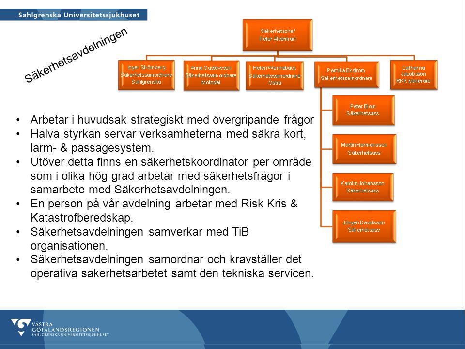 Säkerhet och miljö 2012-03-22 8 Arbetar i huvudsak strategiskt med övergripande frågor Halva styrkan servar verksamheterna med säkra kort, larm- & pas