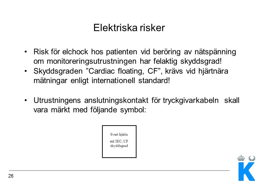 """26 Elektriska risker Risk för elchock hos patienten vid beröring av nätspänning om monitoreringsutrustningen har felaktig skyddsgrad! Skyddsgraden """"Ca"""