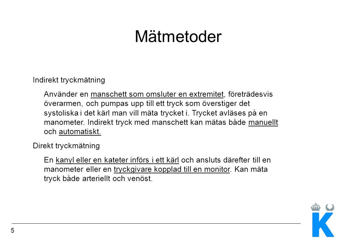 6 Indirekt manuell blodtrycksmätning med manschett 1.