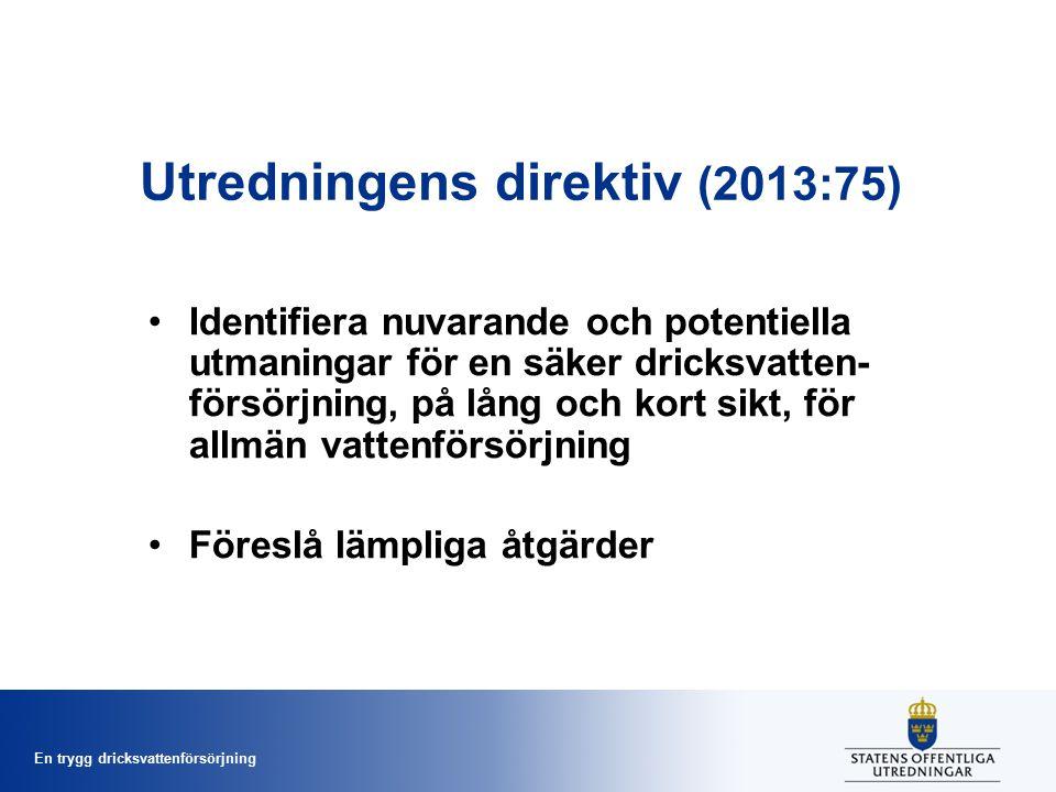 En trygg dricksvattenförsörjning Utredningens direktiv (2013:75) Identifiera nuvarande och potentiella utmaningar för en säker dricksvatten- försörjning, på lång och kort sikt, för allmän vattenförsörjning Föreslå lämpliga åtgärder