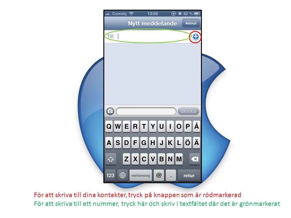 Såhär ser det ut när du fått upp dina kontakter, här kan du välja vem eller vilka du vill skicka ett meddelande till