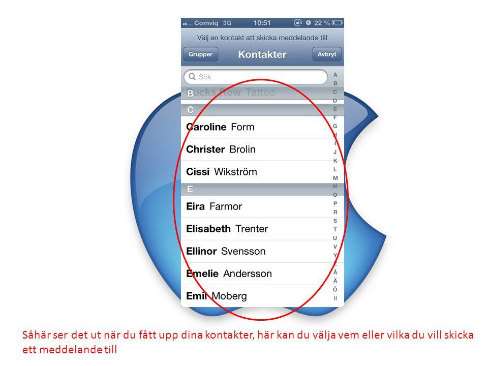 För att svara på ett meddelande, tryck i textrutan som är markerad med rött.