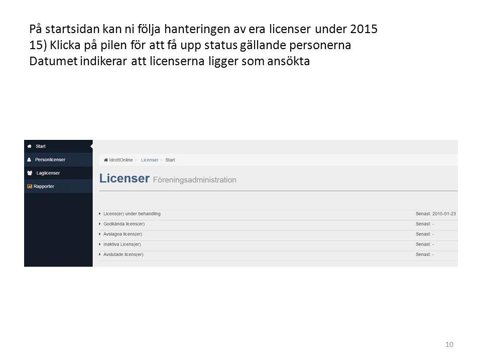 På startsidan kan ni följa hanteringen av era licenser under 2015 15) Klicka på pilen för att få upp status gällande personerna Datumet indikerar att licenserna ligger som ansökta 10