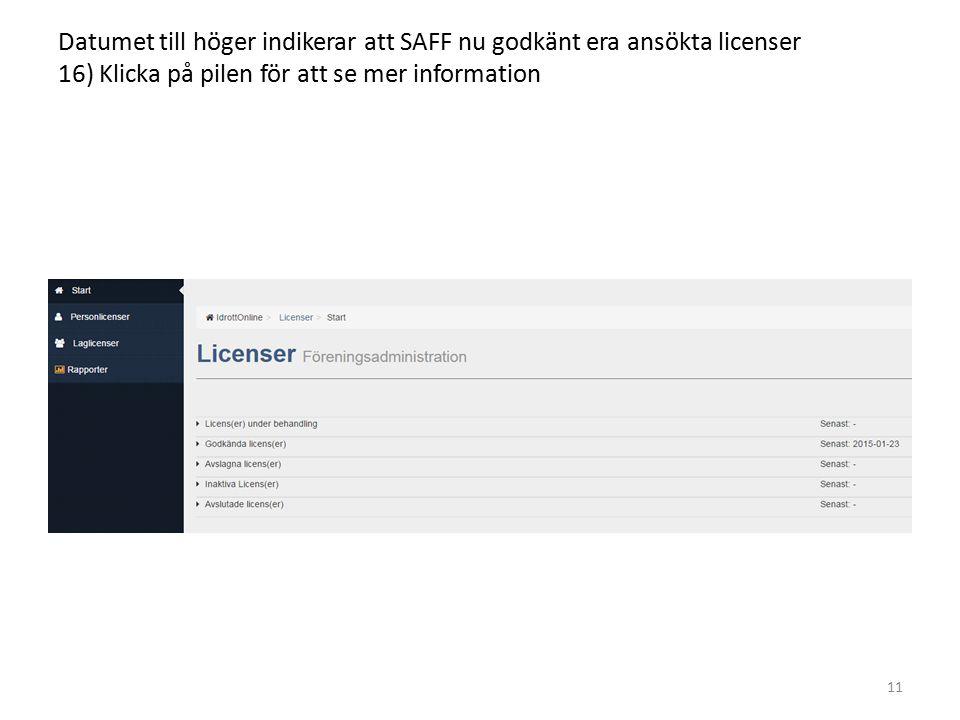 Datumet till höger indikerar att SAFF nu godkänt era ansökta licenser 16) Klicka på pilen för att se mer information 11