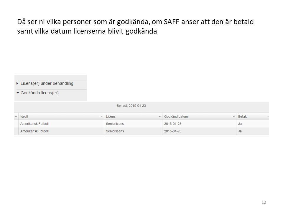 Då ser ni vilka personer som är godkända, om SAFF anser att den är betald samt vilka datum licenserna blivit godkända 12