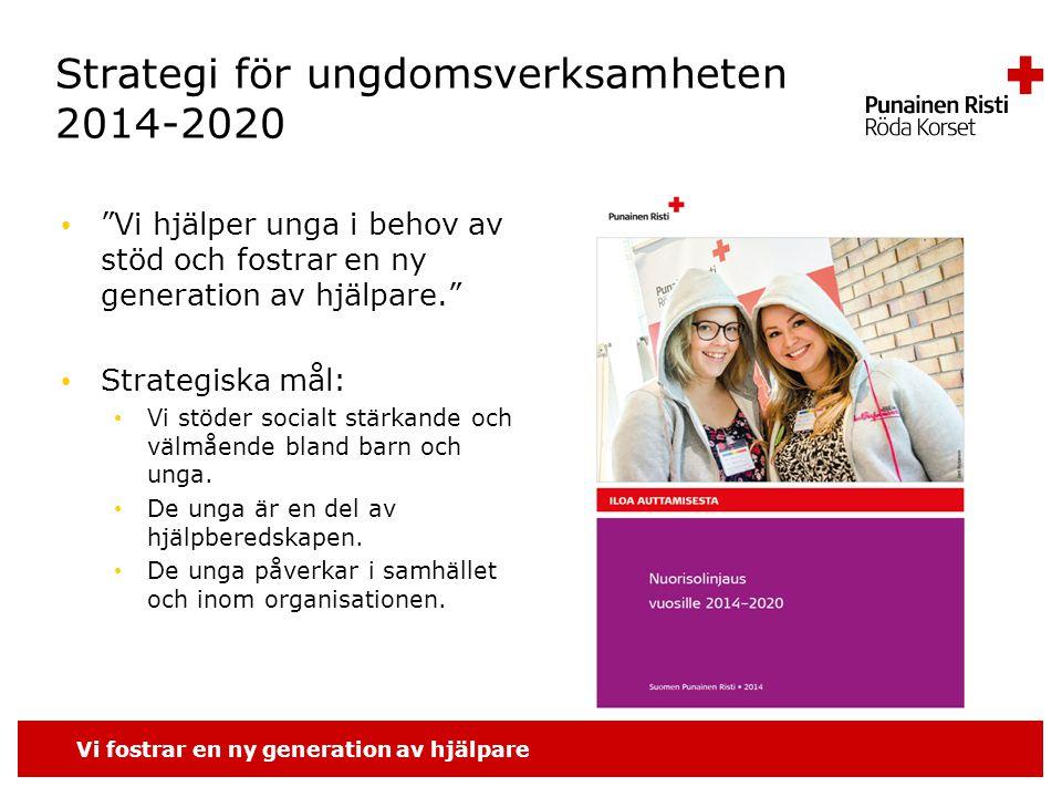 Vi fostrar en ny generation av hjälpare Strategi för ungdomsverksamheten 2014-2020 Vi hjälper unga i behov av stöd och fostrar en ny generation av hjälpare. Strategiska mål: Vi stöder socialt stärkande och välmående bland barn och unga.