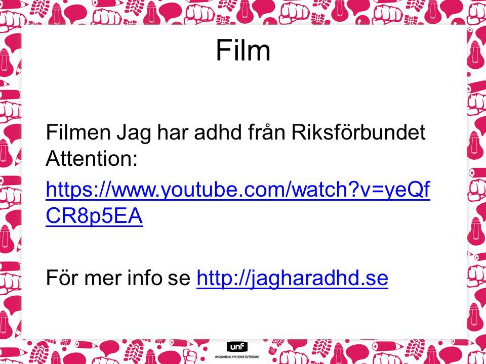 Film Filmen Jag har adhd från Riksförbundet Attention: https://www.youtube.com/watch?v=yeQf CR8p5EA För mer info se http://jagharadhd.sehttp://jaghara