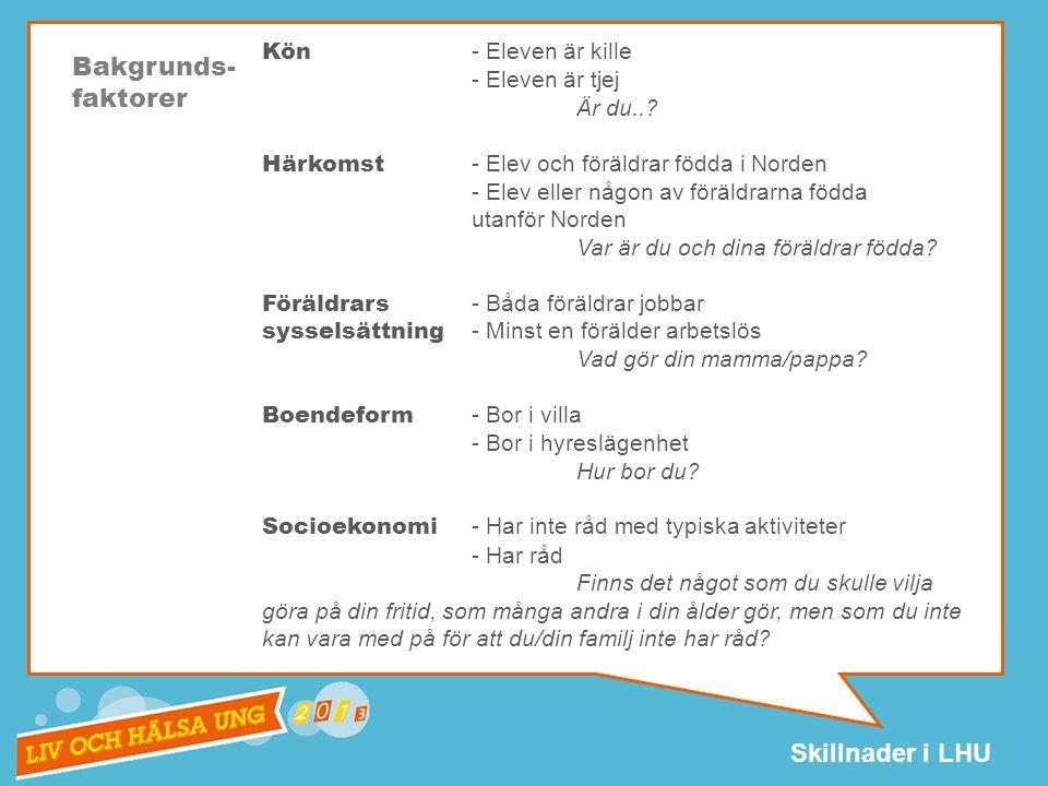 Skillnader i LHU Kön - Eleven är kille - Eleven är tjej Är du...
