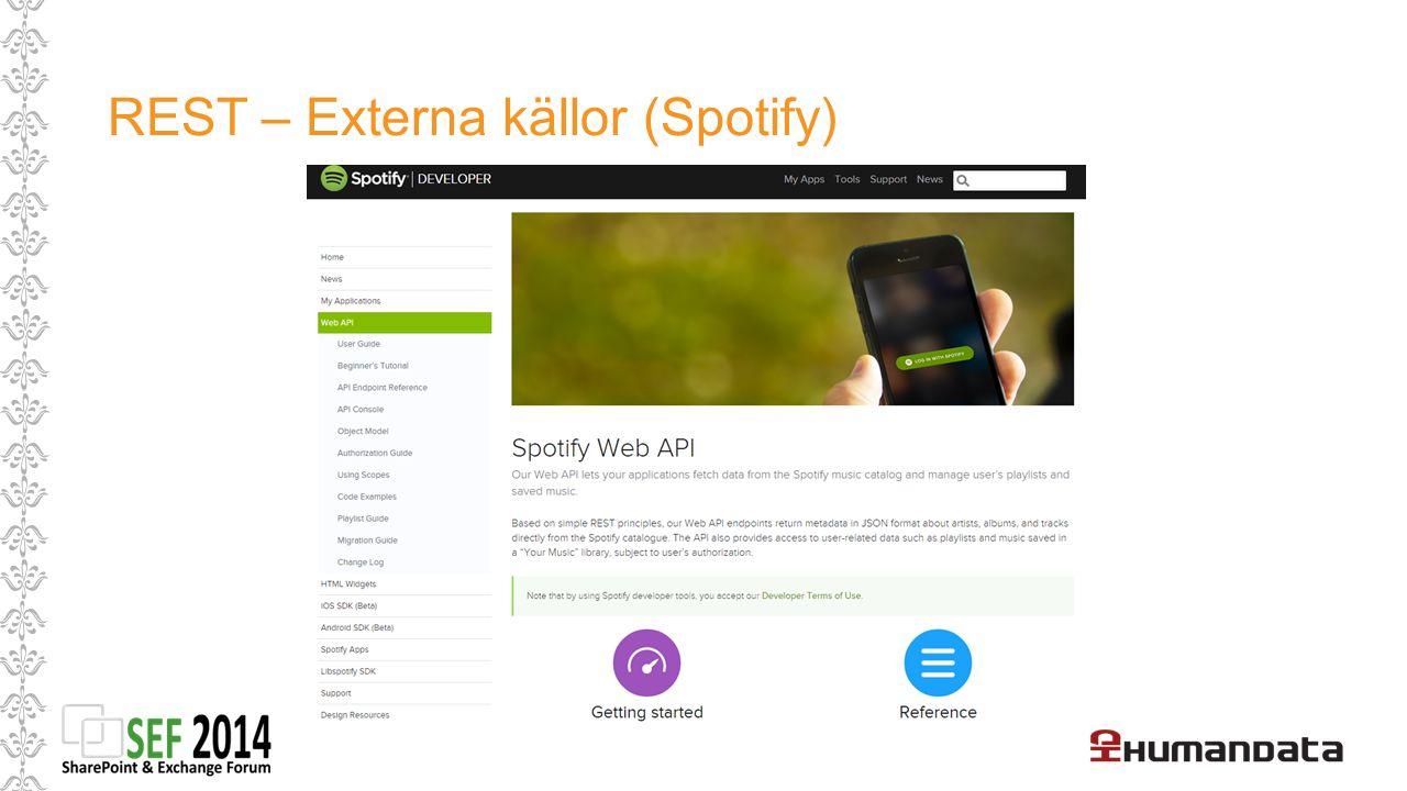 REST – Externa källor (Spotify)