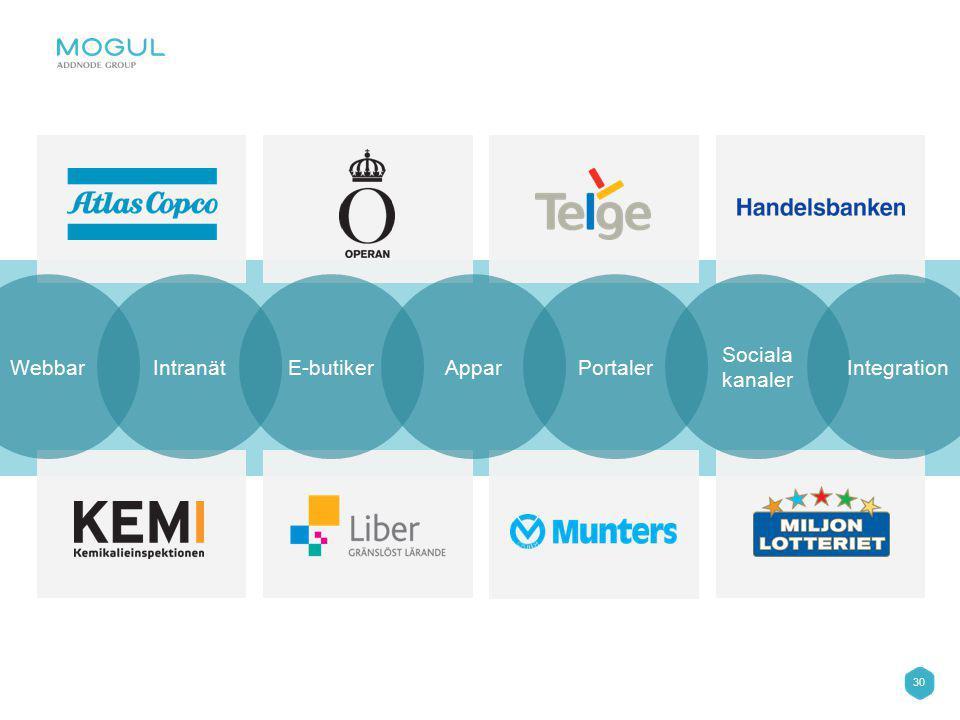 30 WebbarIntranätE-butikerApparPortaler Sociala kanaler Integration