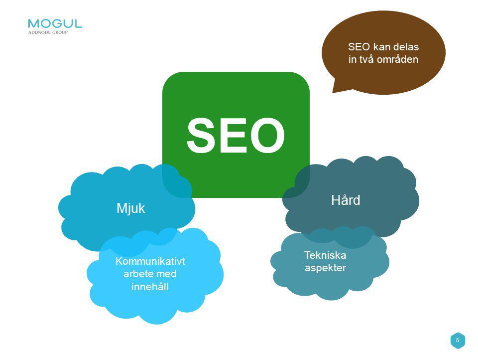 5 SEO Mjuk Hård Kommunikativt arbete med innehåll Tekniska aspekter SEO kan delas in två områden