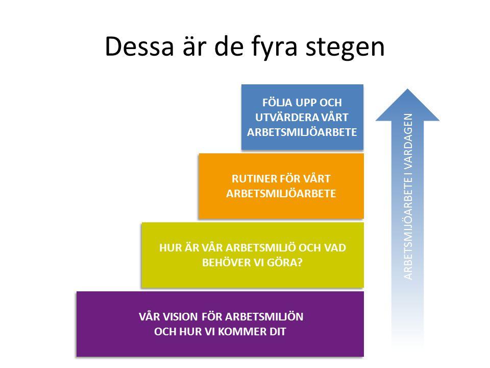 Dessa är de fyra stegen RUTINER FÖR VÅRT ARBETSMILJÖARBETE HUR ÄR VÅR ARBETSMILJÖ OCH VAD BEHÖVER VI GÖRA.
