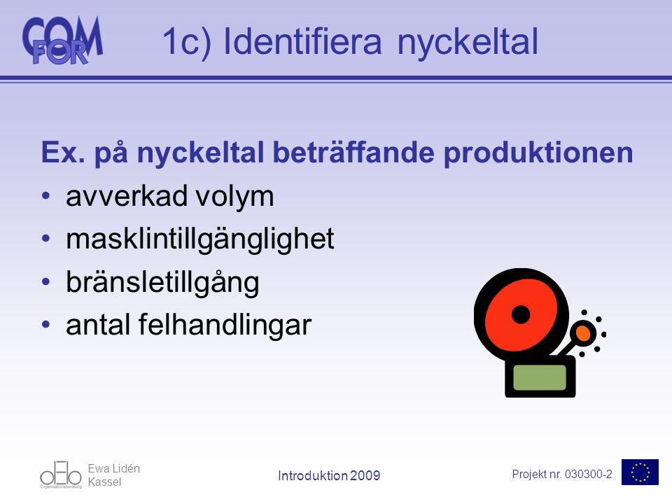 Ewa Lidén Kassel Projekt nr. 030300-2 Introduktion 2009 1c) Identifiera nyckeltal Ex.