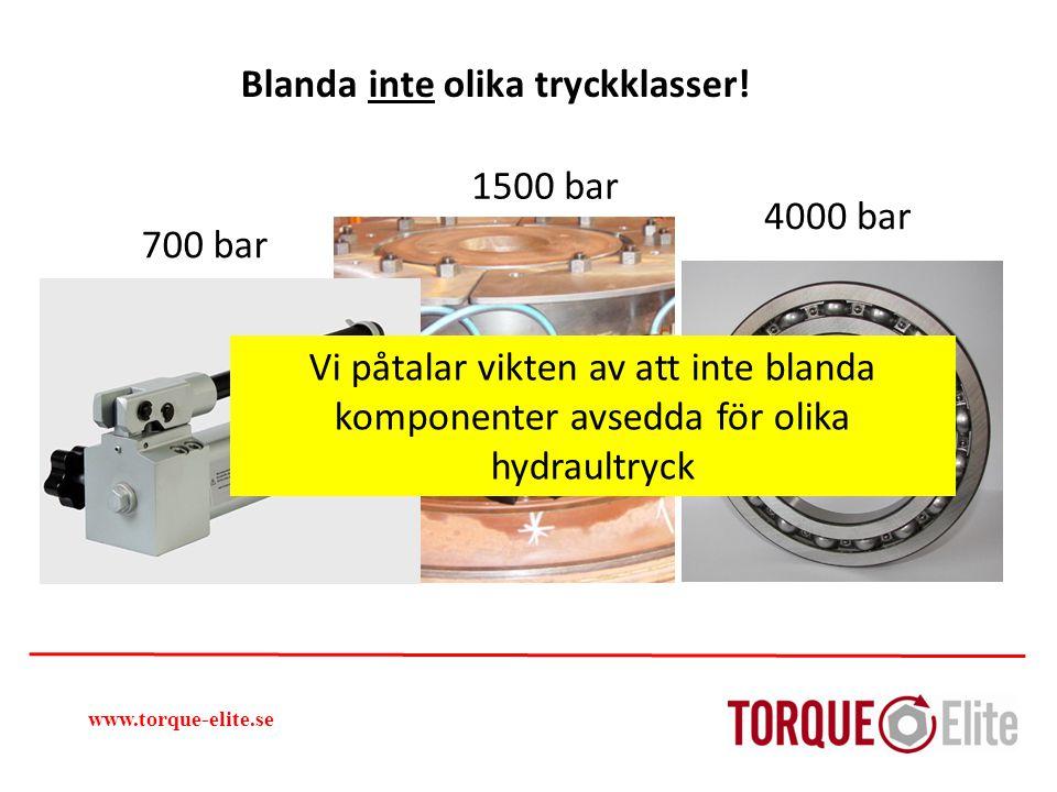 www.torque-elite.se 4000 bar 700 bar 1500 bar Blanda inte olika tryckklasser! Vi påtalar vikten av att inte blanda komponenter avsedda för olika hydra