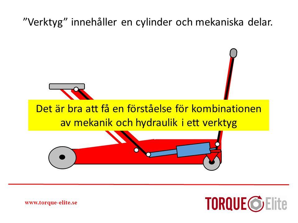 """""""Verktyg"""" innehåller en cylinder och mekaniska delar. www.torque-elite.se Det är bra att få en förståelse för kombinationen av mekanik och hydraulik i"""