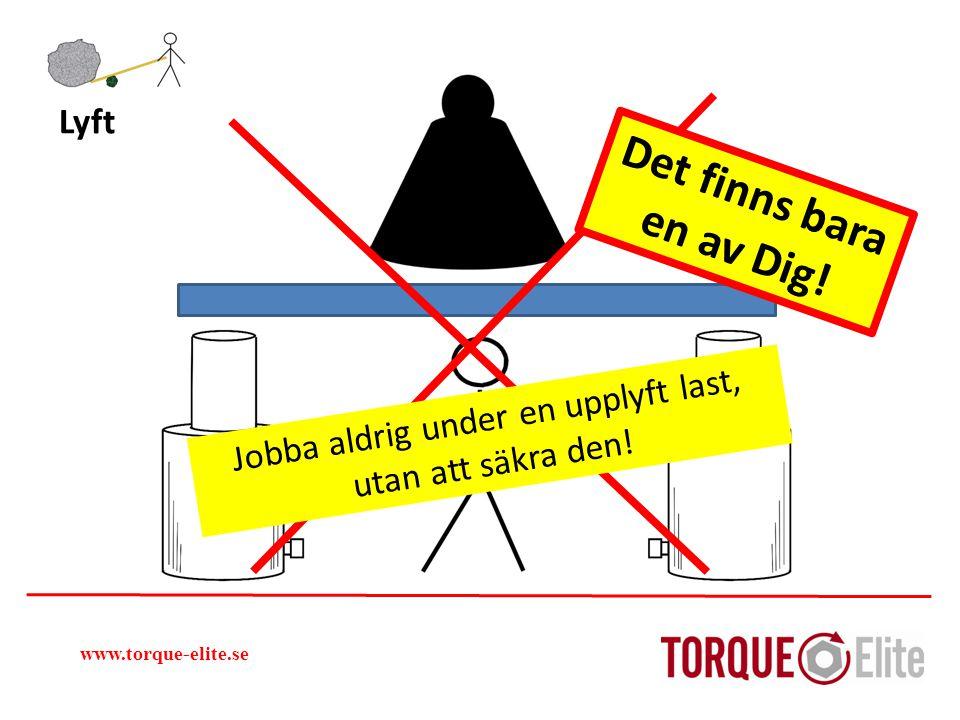 www.torque-elite.se Det finns bara en av Dig! Lyft Jobba aldrig under en upplyft last, utan att säkra den!