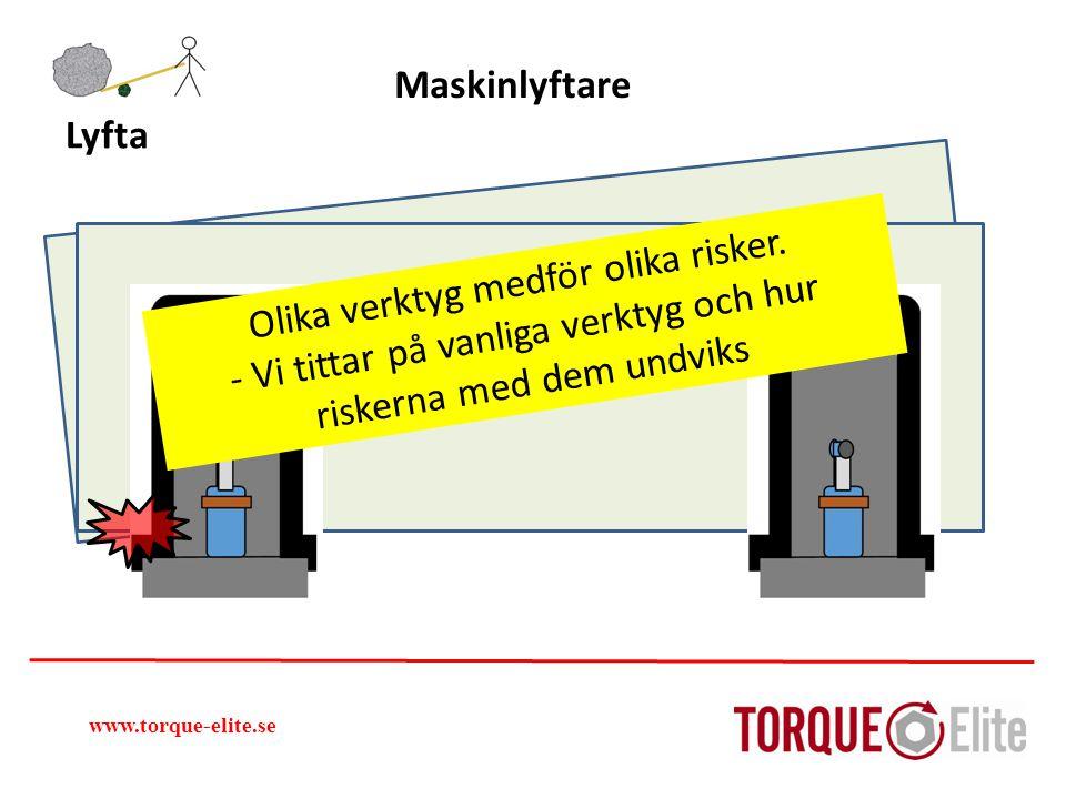 www.torque-elite.se Lyfta Maskinlyftare Olika verktyg medför olika risker. - Vi tittar på vanliga verktyg och hur riskerna med dem undviks