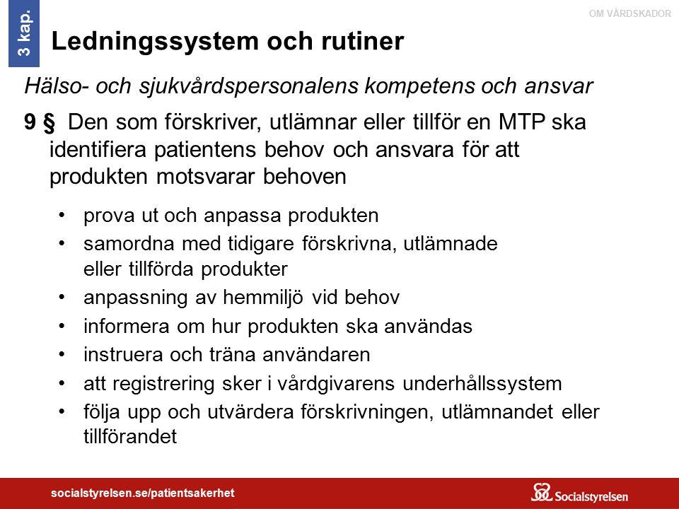 OM VÅRDSKADOR socialstyrelsen.se/patientsakerhet Ledningssystem och rutiner Hälso- och sjukvårdspersonalens kompetens och ansvar 9 § Den som förskrive