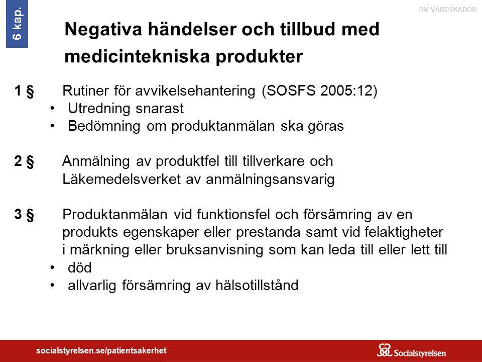 OM VÅRDSKADOR socialstyrelsen.se/patientsakerhet Negativa händelser och tillbud med medicintekniska produkter 1 § Rutiner för avvikelsehantering (SOSF
