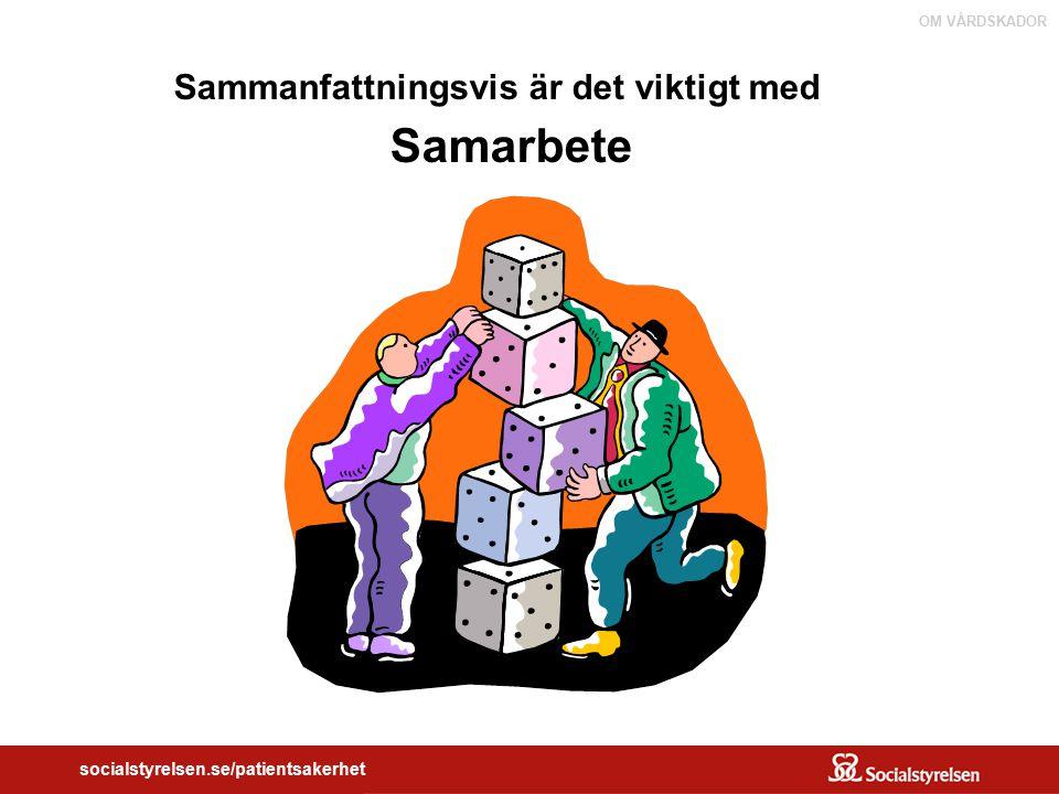 OM VÅRDSKADOR socialstyrelsen.se/patientsakerhet Sammanfattningsvis är det viktigt med Samarbete