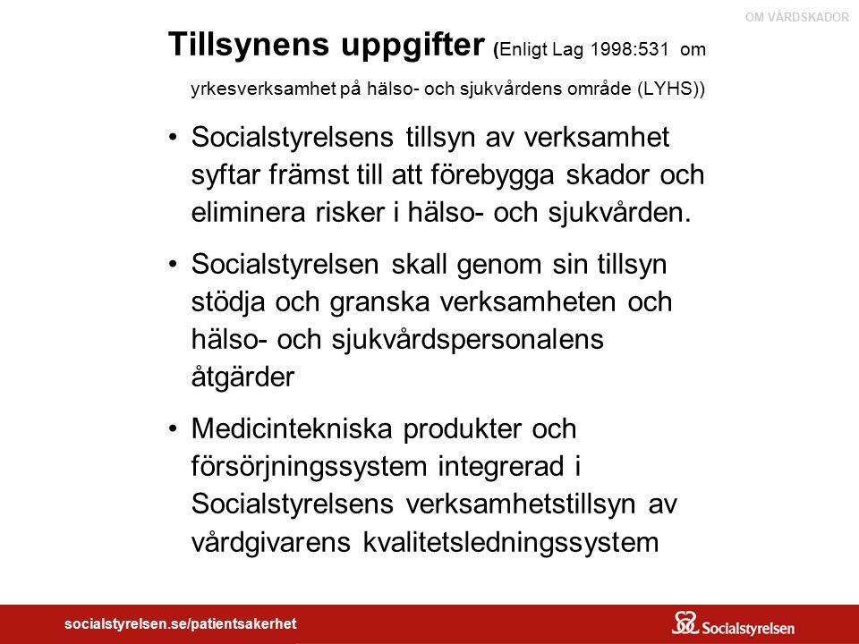 OM VÅRDSKADOR socialstyrelsen.se/patientsakerhet Tillsynens uppgifter (Enligt Lag 1998:531 om yrkesverksamhet på hälso- och sjukvårdens område (LYHS))
