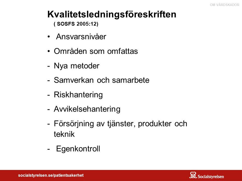 OM VÅRDSKADOR socialstyrelsen.se/patientsakerhet Kvalitetsledningsföreskriften ( SOSFS 2005:12) Ansvarsnivåer Områden som omfattas -Nya metoder -Samve